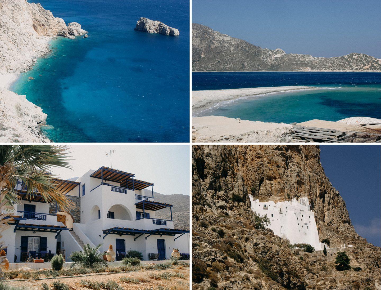 Amorgos - schöne Unterkunft, traumhafte Strände und ein Kloster Namens Chavotiotissa mitten in den Berghang hineingebaut - gigantisch!