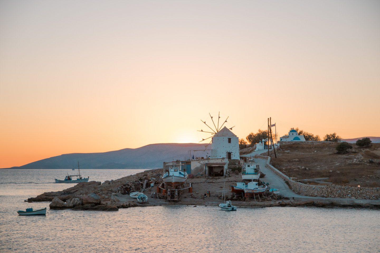 Koufonissi - Schiffswerft mit Windmühle - schöne Sonnenuntergänge