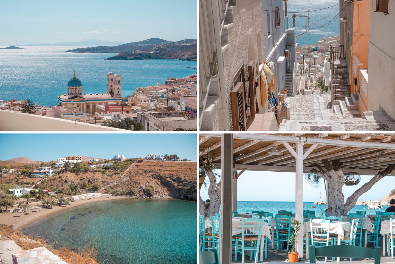 Syros - Ermoupolis ist auf zwei Hügeln gebaut. Eine große Stadt mit engen Gassen und tausenden Stufen. Pastellfarbene Häuser und schöne Kirchen, kleine Cafe's und Tavernen laden zum verweilen ein. Die restliche Insel ist ruhig und hat viele schöne Strände.