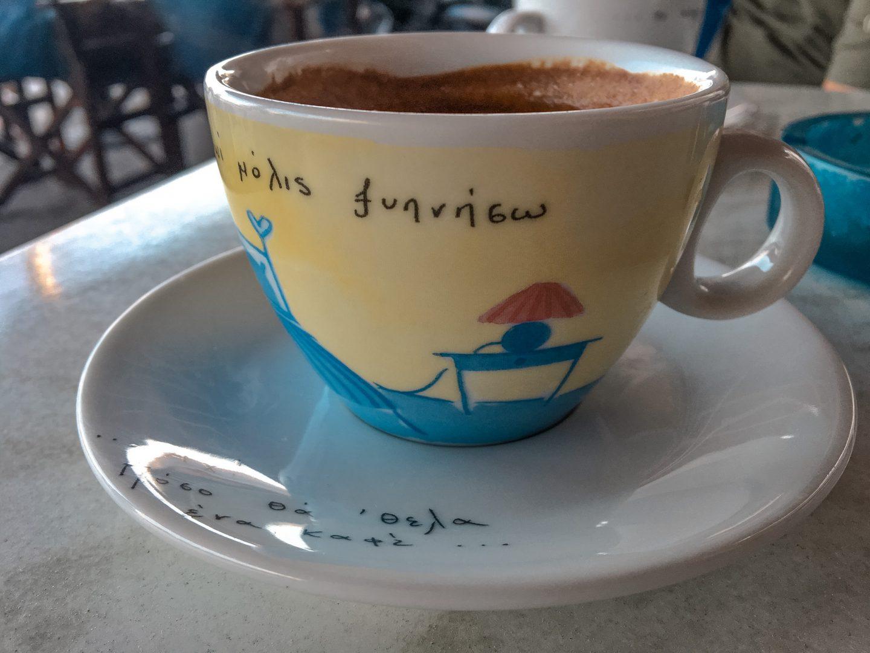 Kaffee in Santorini