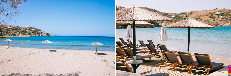 Syros- fünf wunderschöne Strände. Hier, traumhafter Strand in Kini mit feinem Sand.