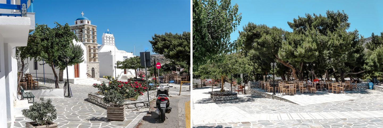 Kostas Platia - Kafenion Gastgarten unter den Pinien