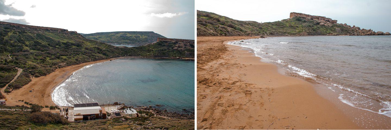Maltas schöner Ghajn Tuffieha Strand mit rotem Sand