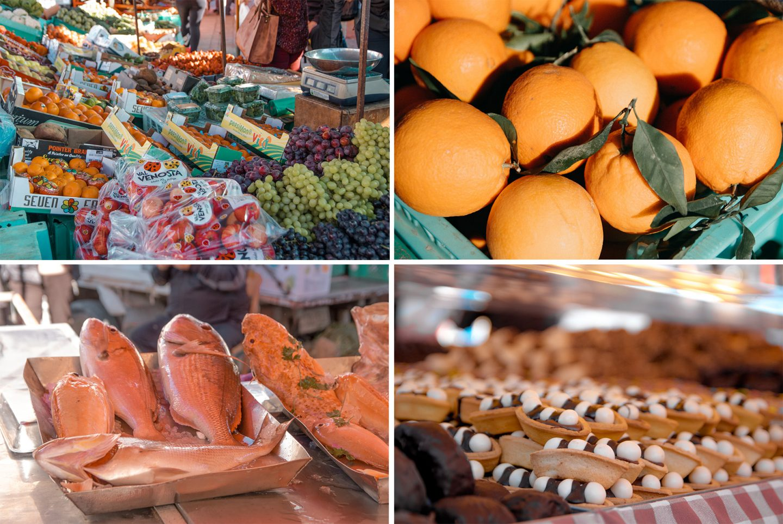 Sonntagsmarkt im Hafen von Marsaxlokk -hier Obst, Orangen, Fisch und Süßes