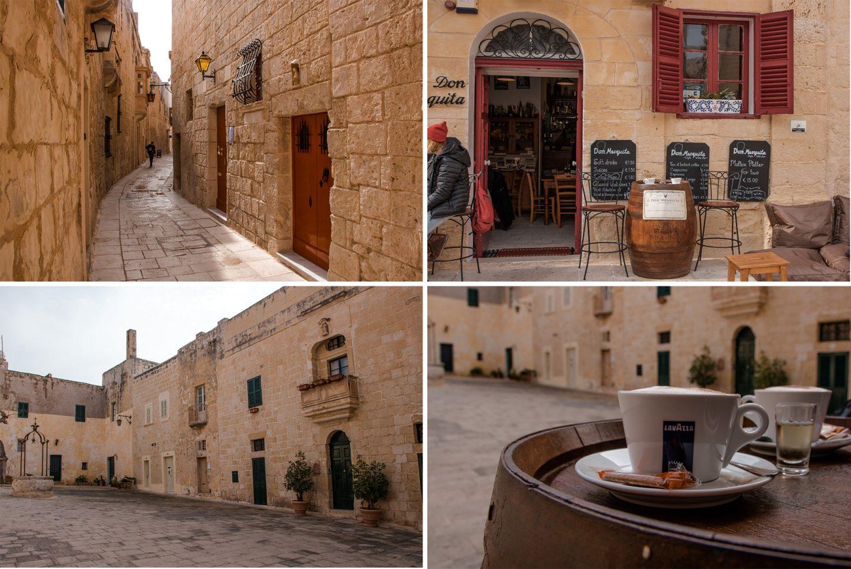 Pjazza Mesquita in Mdina, Malta ist ein netter platz mit einem gleichnamigen Cafe - gemütlich zum Sitzen und genießen