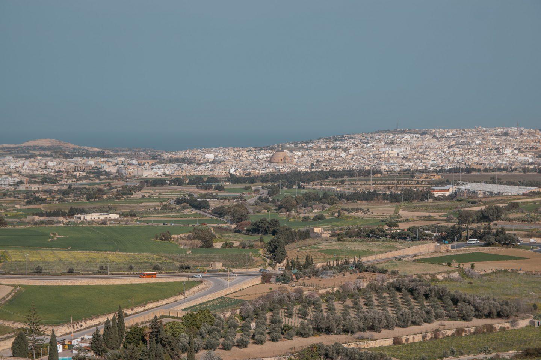 Die Stadt Mosta von Mdina aus