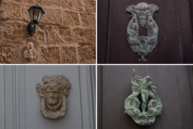 Malta, Mdina. Mitelalterliche Stadt mit hübschen Türklopfern