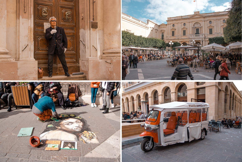 Valetta, eine lebhafte Stadt mit Straßenkunst