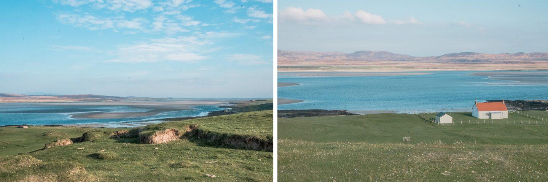 Die Landschaft an der Bucht Loch Gruinart ist ganz besonders schön. Die Bucht ist bei Ebbe an vielen Stellen kaum mit Wasser gefüllt was wunderschön aussieht.