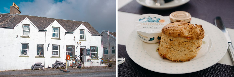 the Labels Café in Bridgend ist ein kleines Cafe mit Shop - sehr nette Inhaberin. Wir kosten Scones und trinken Kaffee.