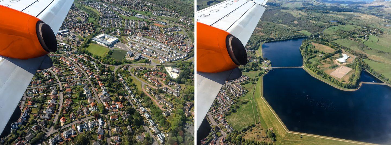 Logan Air von Glasgow nach Islay - kleine Propellermaschine für 33 Passagiere. Über Glasgow sieht man Häuserreihen und Lochs sehr gut aufgrund niedriger Flughöhe