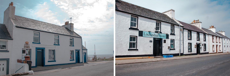 Lochindaal Hotel und Bar in Port Charlotte ist excellent zum Essen und genießen in gemütlicher Atmosphäre mit Kamin. Die kleine Tankstelle ist die einzige der Insel Islay, die 24 Std. geöffnet ist.