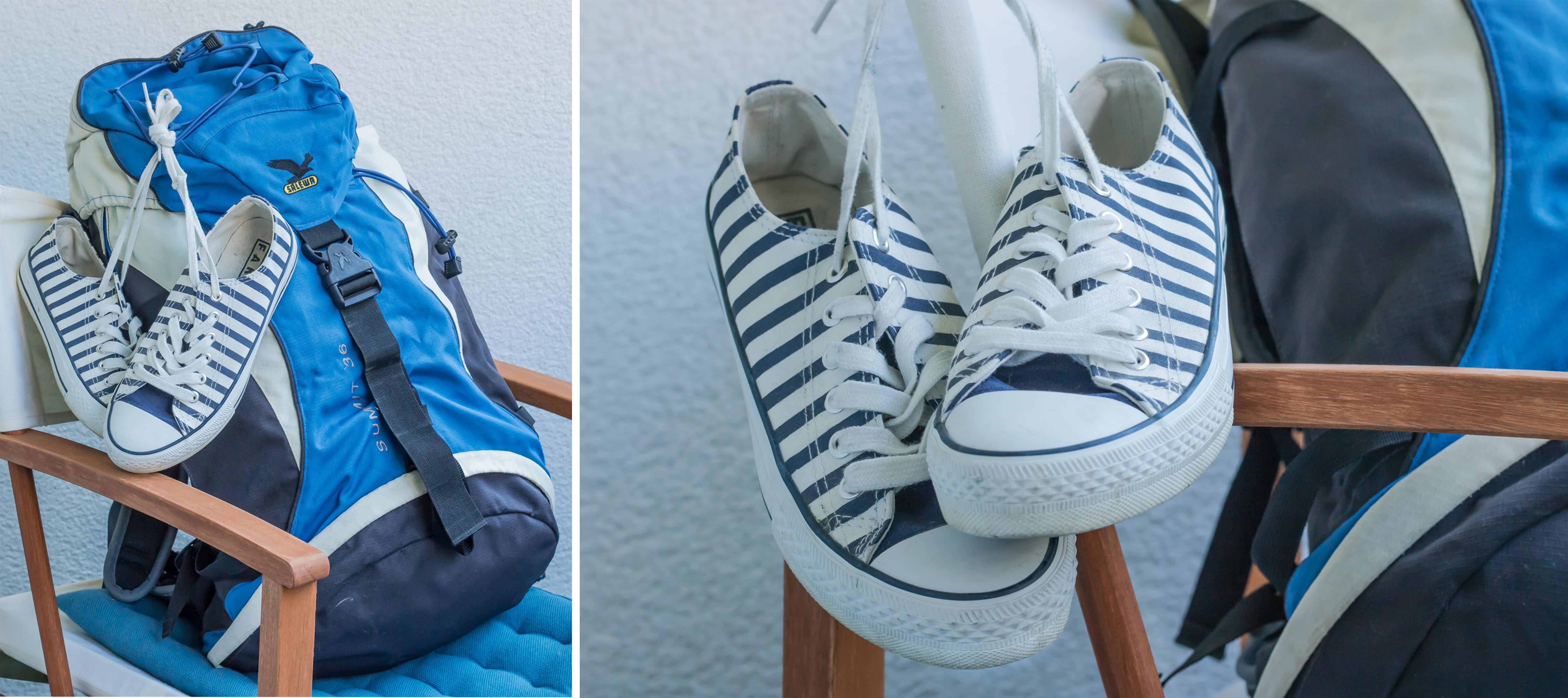 Mein Rucksack und meine Turnschuhe - weiß mit blauen Streifen. Wenig Gepäck ist das was zähltbeim Inselhüpfen, um flexibel zu sein.