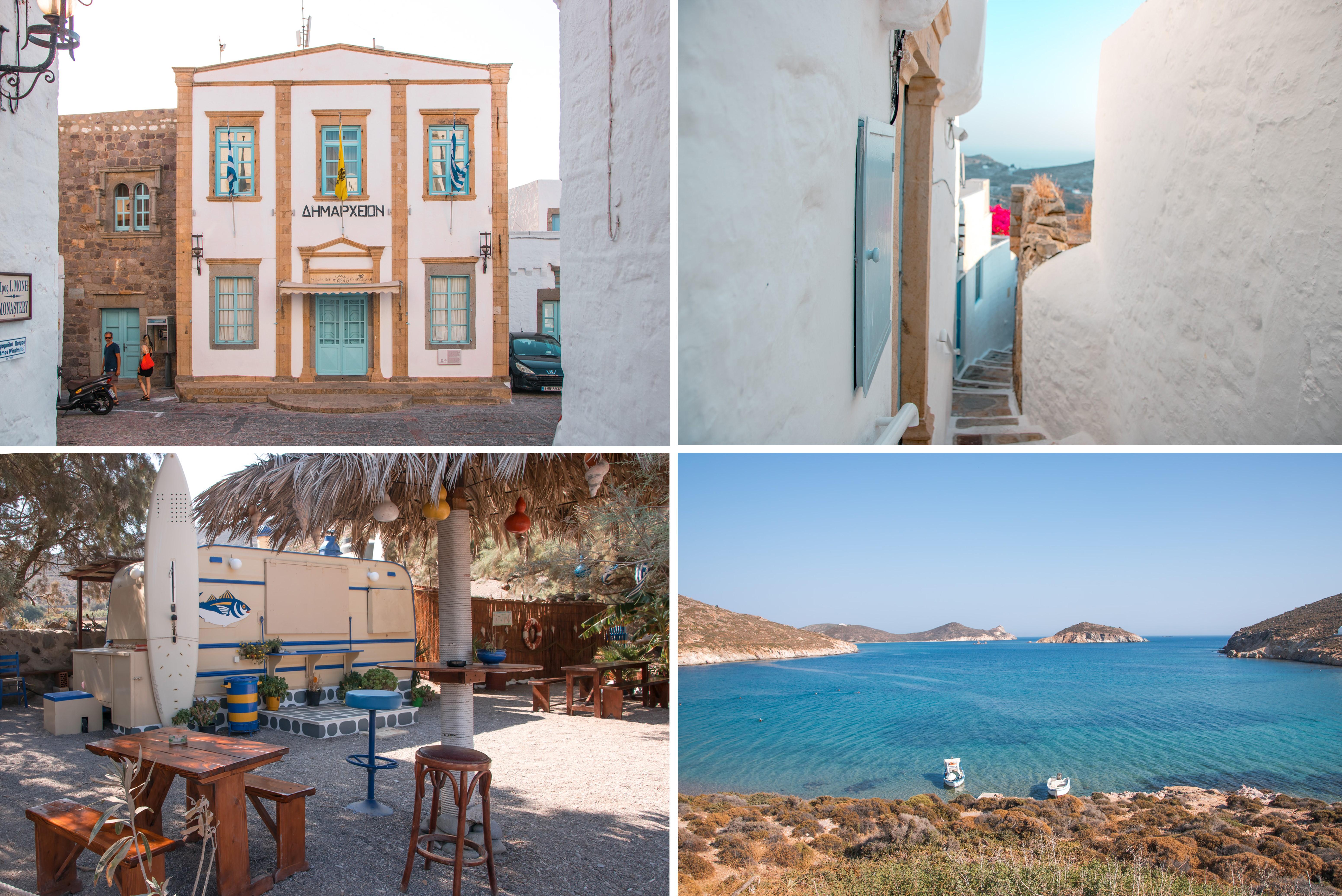 Inselhüpfen zur Insel Patmos - viel zu entdecken: Chora, alte Häuser, enge Gassen, Strandcantina, herrliches blaues Meer