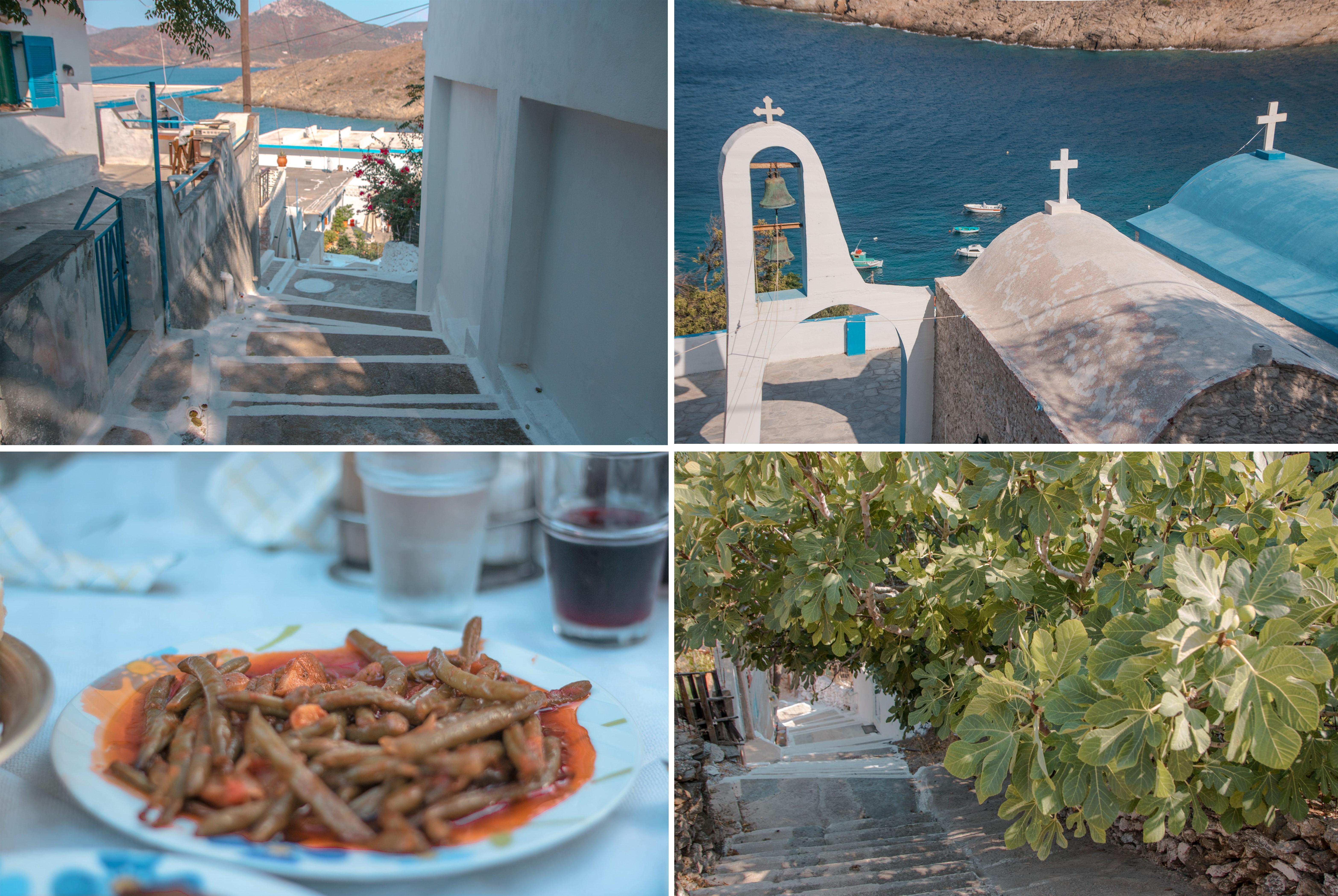 Inselhüpfen auf das Inselchen Thymena bei Fourni. Feigenbaum, viele Treppen, gekochte Fisolen und eine Kirche