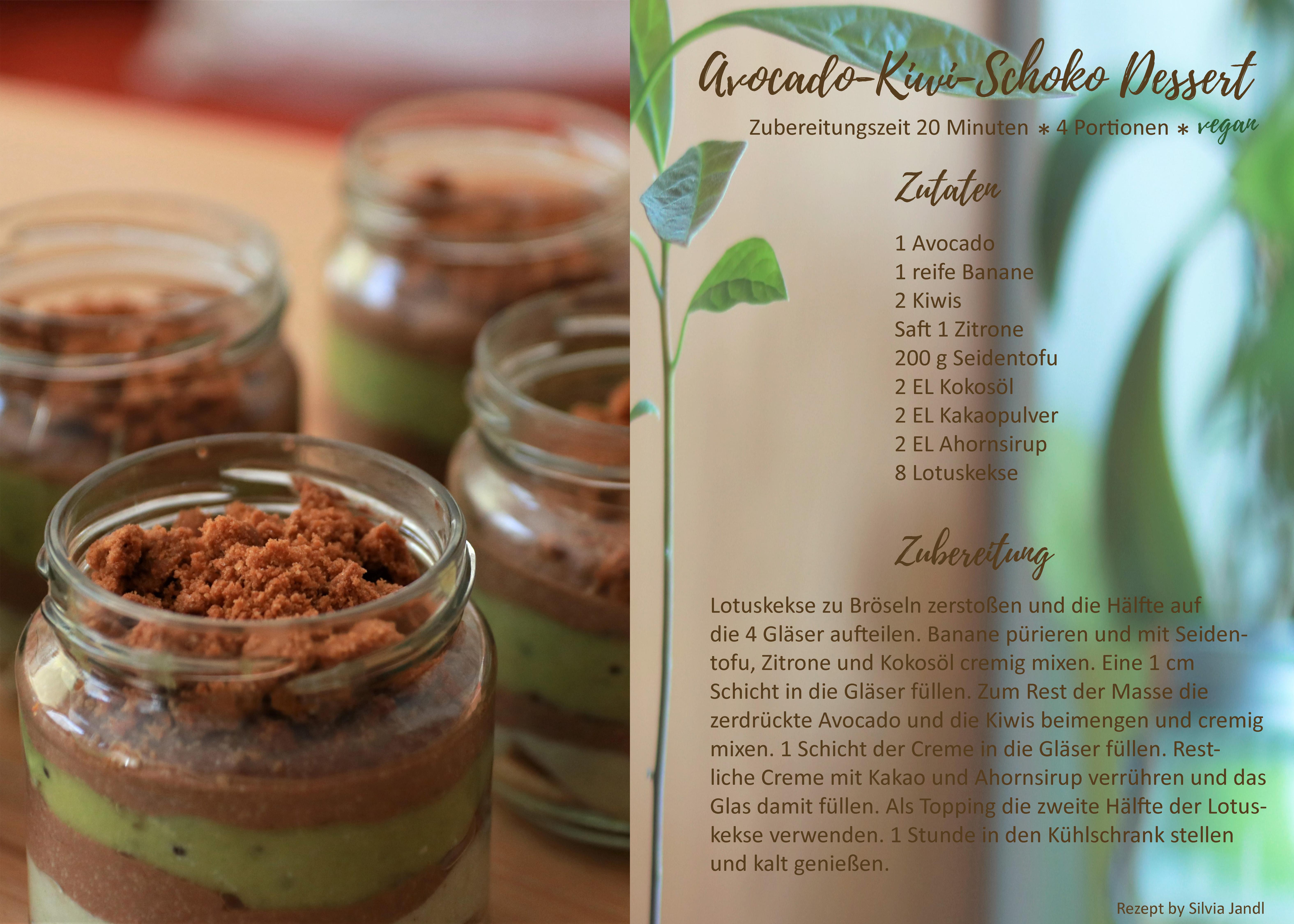 Avocado-Kiwi-Schoko Dessert vegan