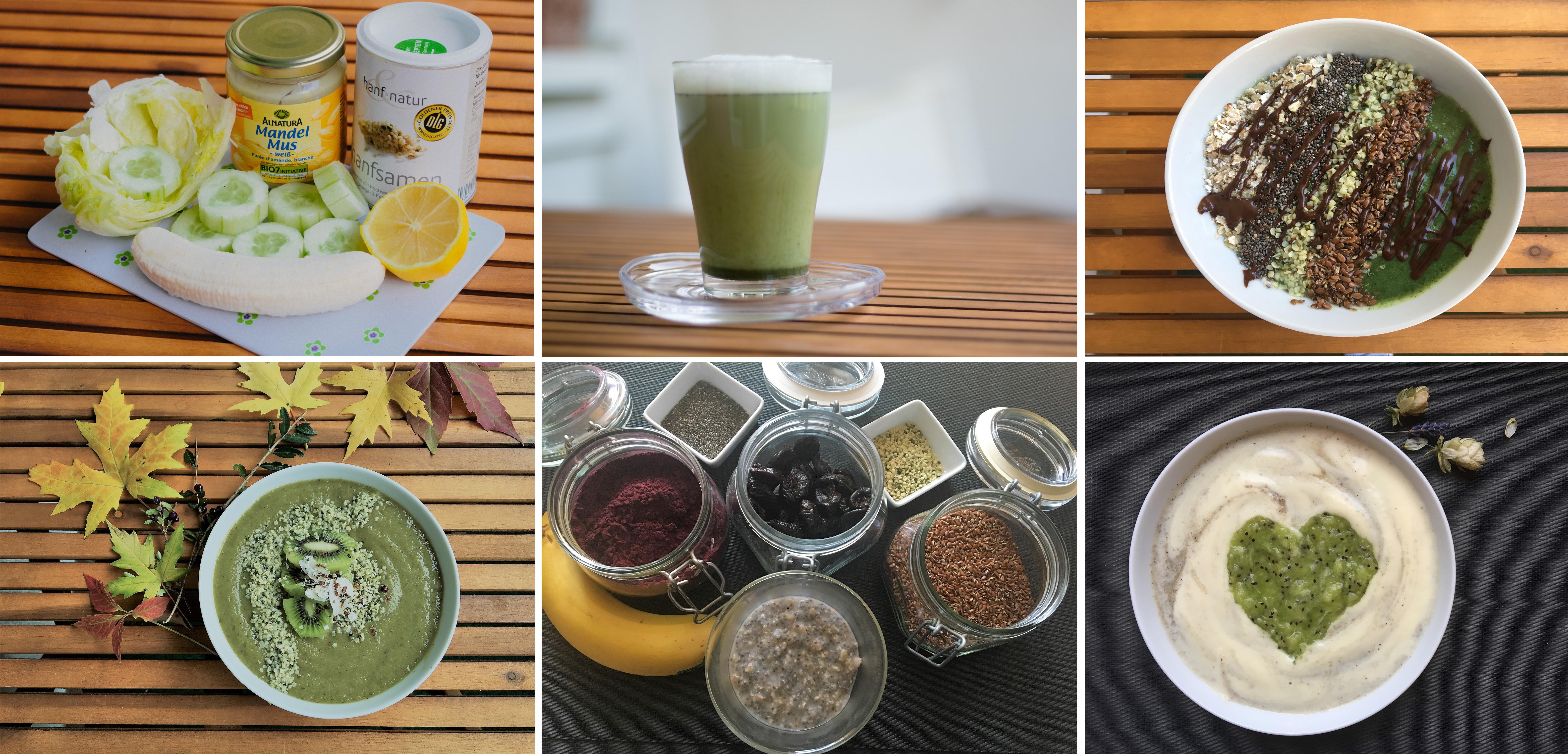 Veganes Frühstück - verschiedene vegane Smoothie Bowls und Drinks