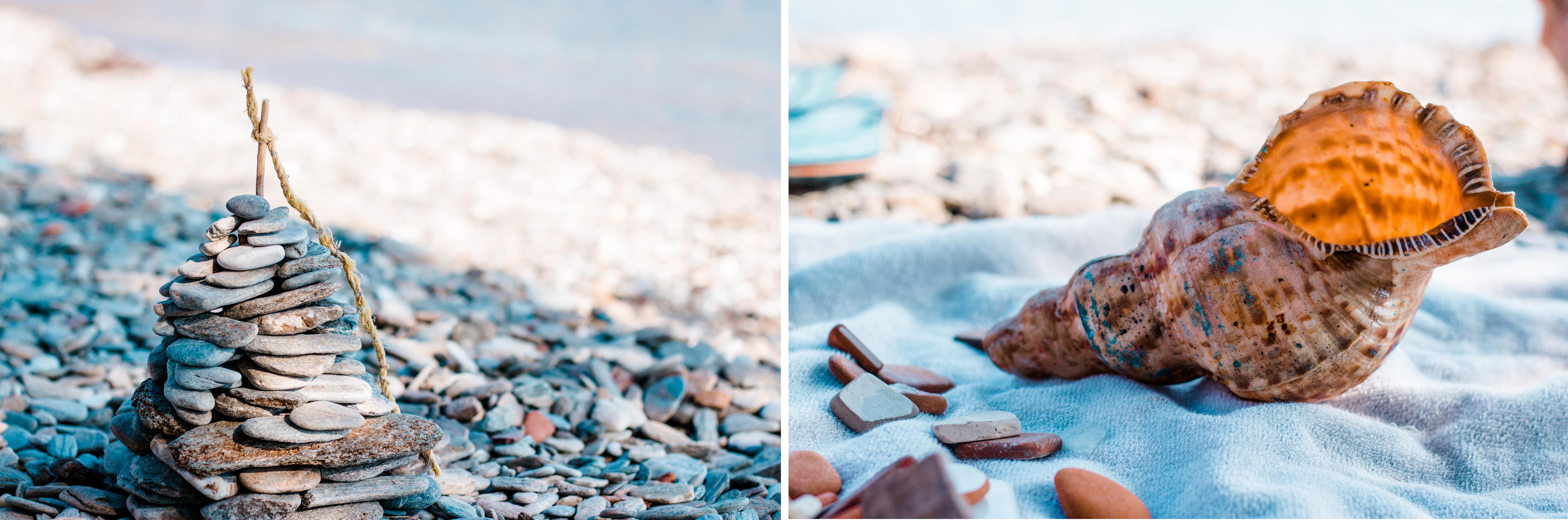 Strandbeschäftigung - Steintürme bauen entspannt