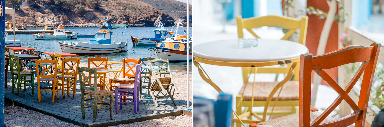 Bunte Leichtigkeit - chill out Plätze im Hauptort sind viele Stühle in freundlichen ganz bunten Farben gestrichen. Sie sind lila, orange, gelb, weiß, grün, blau ..