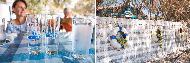 gemütliche Plätze in der Taverne und am Strand - wir trinken Wasser und ouzo mit Blick aufs Meer - Fourni ist Gelassenheit pur