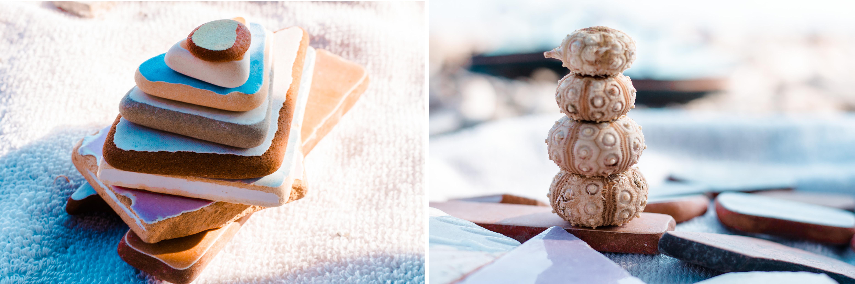 Strandgut auf Fourni - Türme bauen mit bunten Fliesenstücken und Seeigelgehäusen entspannt