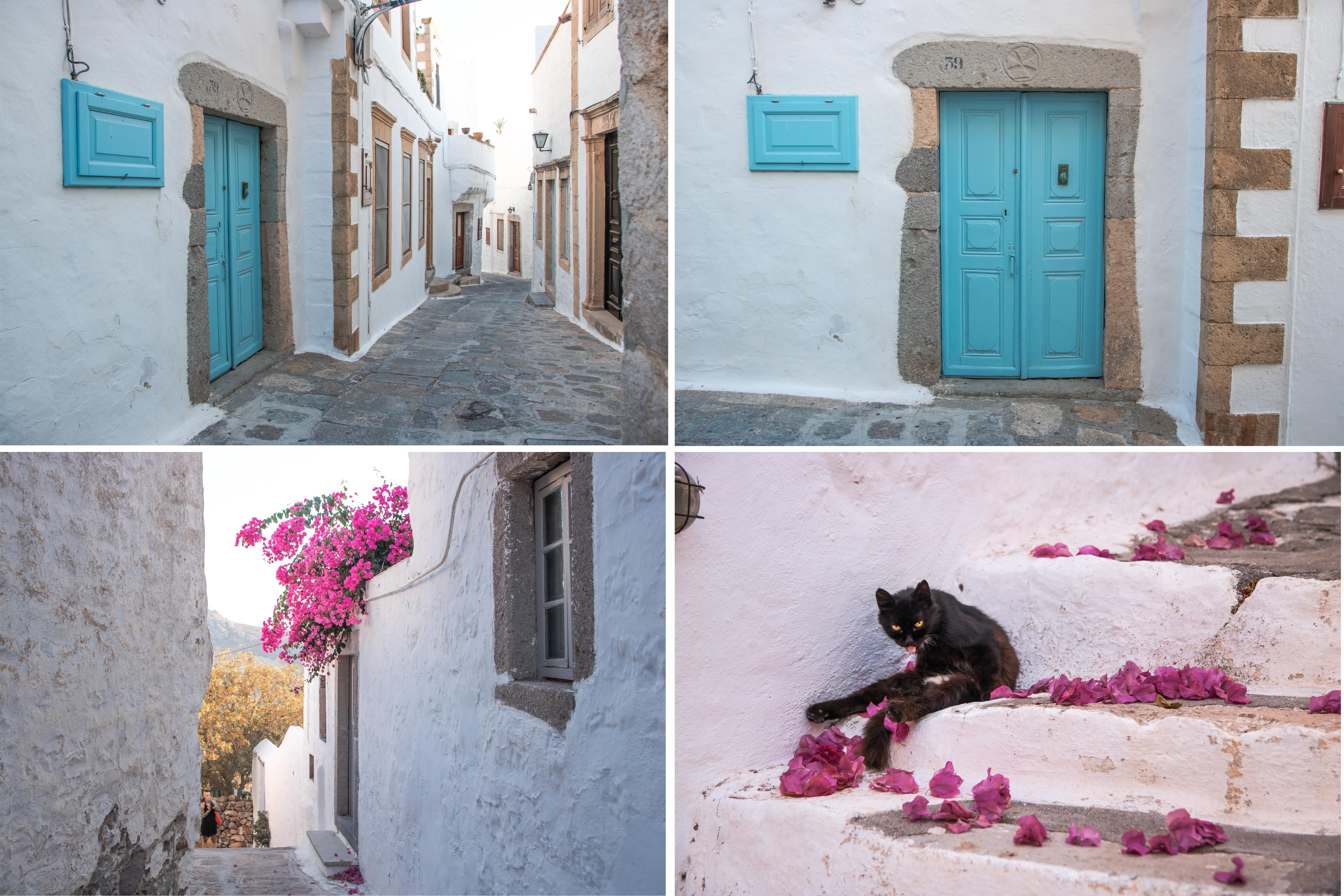 Patmos Chora, liebe kleine Gassen mit Bougenvillea und Katze