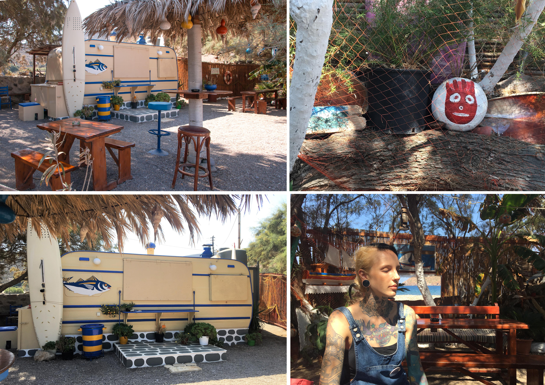 Patmos Lefkes Strand, idyllische Kantina mit Wohnwagen und liebevoll gestalteten Kunstwerken unter Bäumen