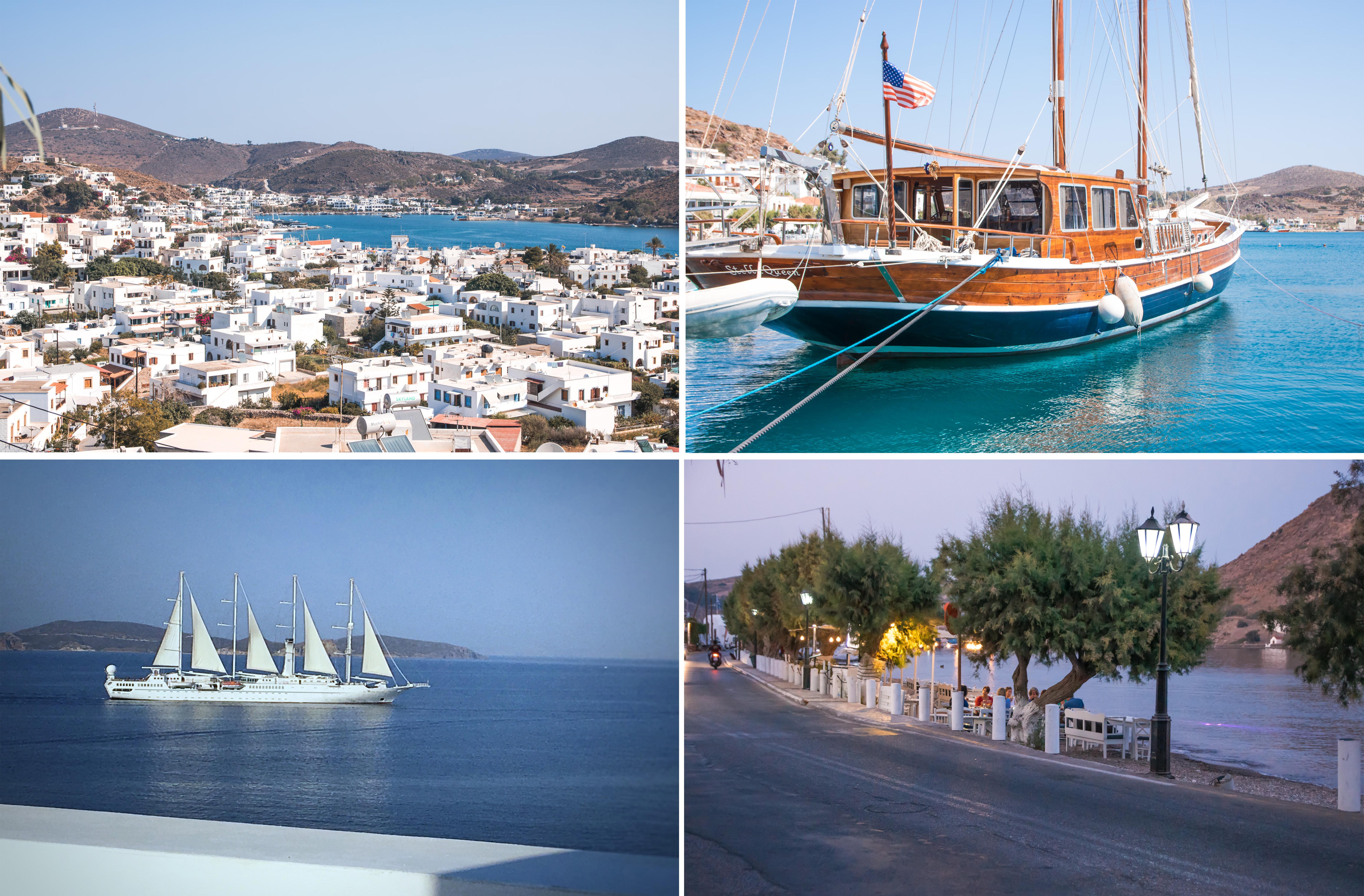 Patmos Stadt, Hafen und Segelboot