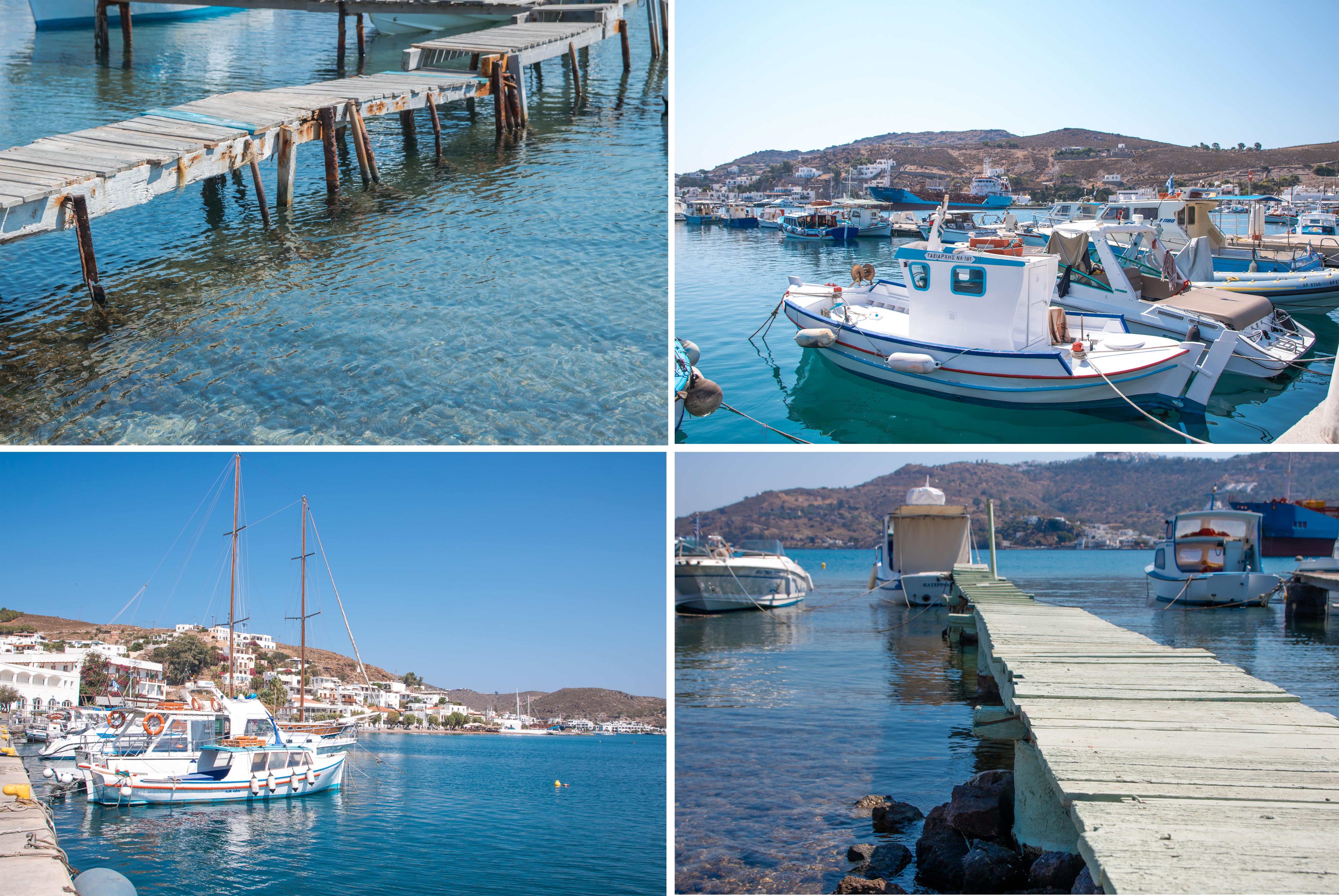 Patmos Hafen Boote und Stege wunderschöne Stimmung am Meer