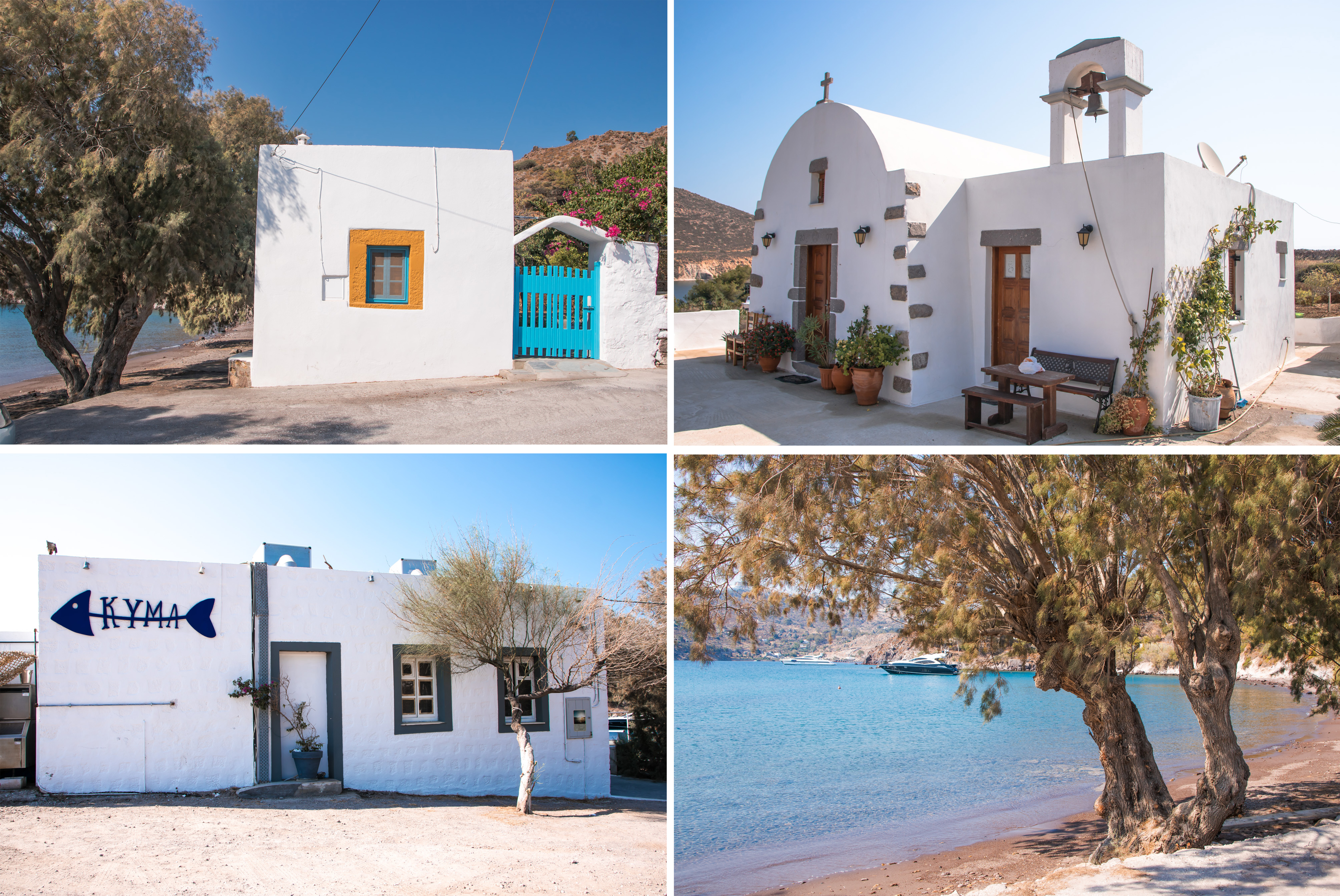 Schöne Plätze auf Patmos Strand und Taverne To Kyma