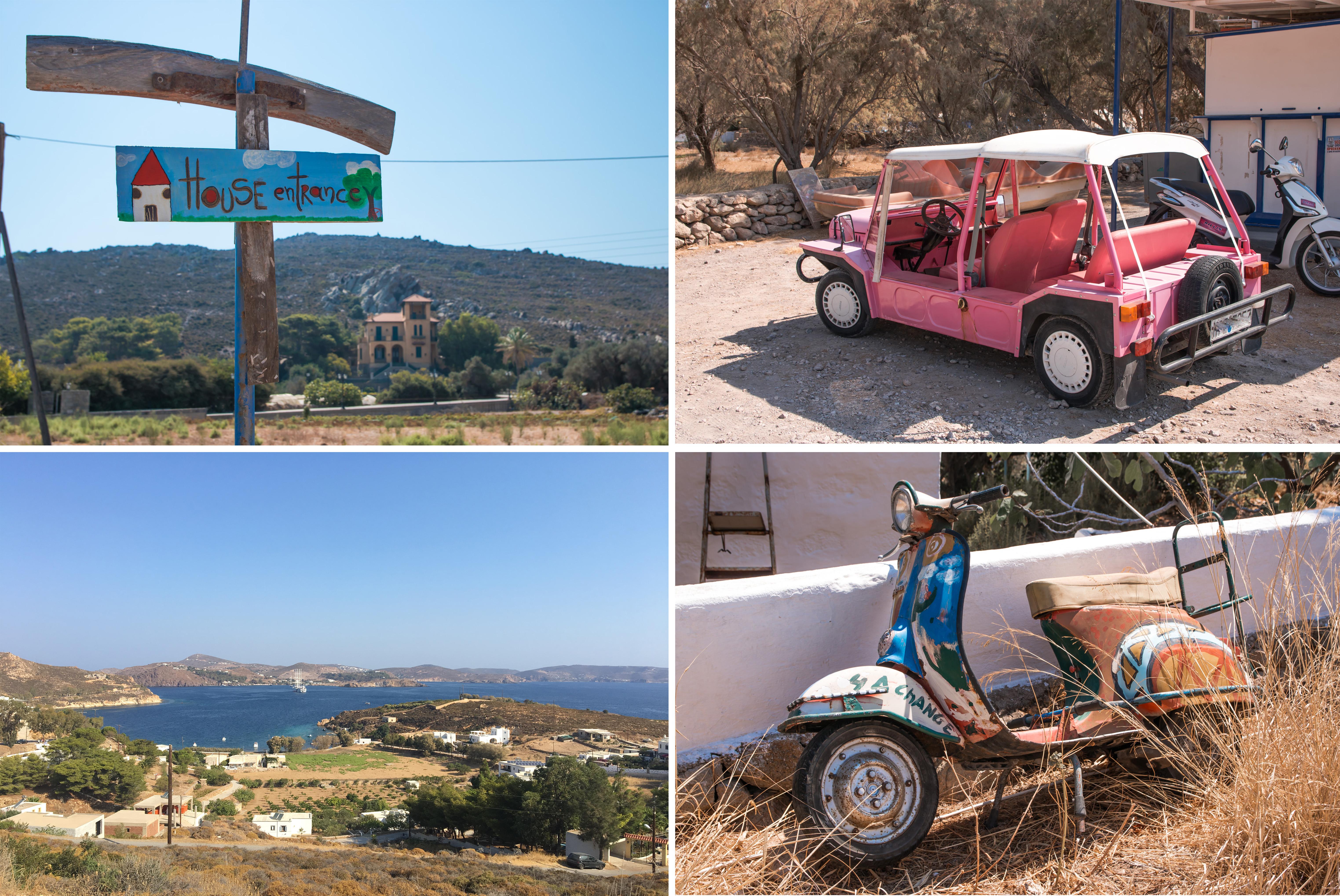 Patmos quer über die Insel mit dem Auto entdecken wir einen rosaroten Mini Moke und ein alten rostigen bemalten Scooter, sehr originell