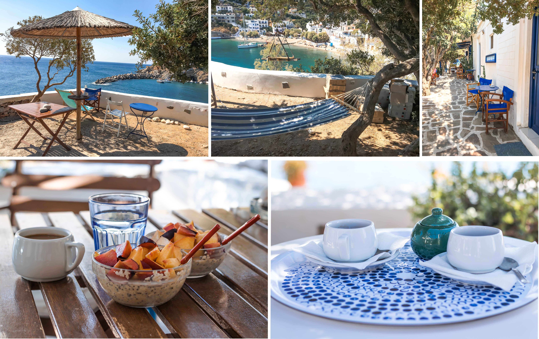 Ikaria, Agriolykos Pension - Frühstück im Garten mit herrlichem Ausblick auf Therma
