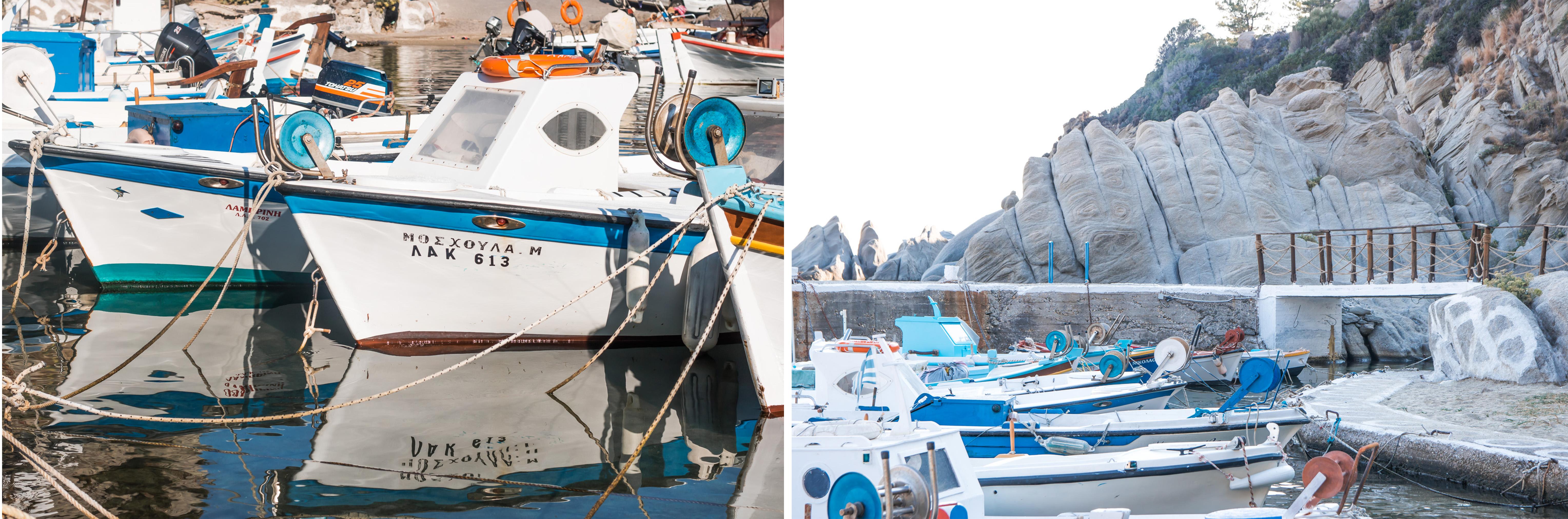 Magganitis Port - ein kleiner Hafen - besonders schöne Fischerboote, Taverne (Geheimtipp) und Felsen