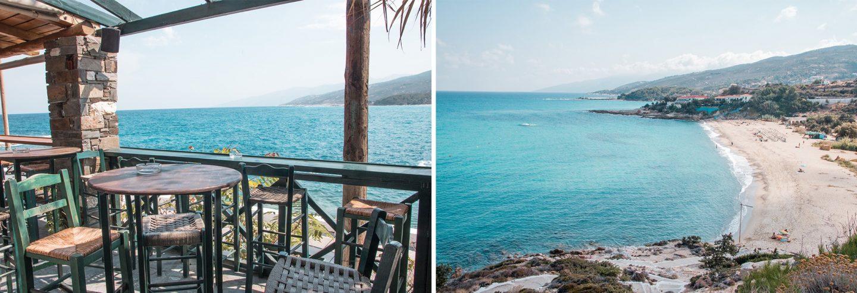 Armenistis Mythos Bar mit Blick auf Livadi  Strand in Ikaria