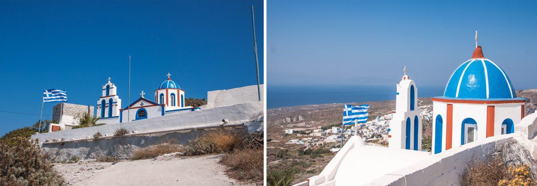 Thirassia - die Kirche Agios Charalampos liegt ganz oben auf der Caldera mit traumhaft schönem Blick auf den Hauptort Manolas.