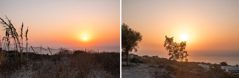 Der Sonnenuntergang auf Thirassia ist mindestens genau so wunderschön wie auf der Ins3l Santorini. Auf Thirassia kannst du ihn alleine mit einem Glas Wein genießen - in Santorini mit tausenden Touristen - it's your choice .