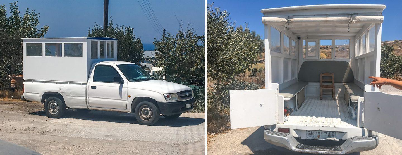 Insel Thirassia - ein geniales Transportmittel zwischen Riva und Manolas - ein Pickup mit Aufbau, wirkt ein bisschen wie das Papamobil in groß ;)